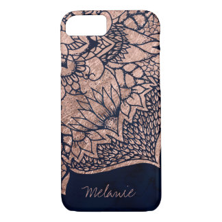 Modern boho rose gold floral mandala watercolor iPhone 7 case