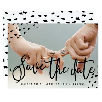 Modern boho save the date photo polka dots card