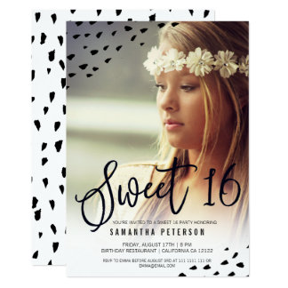 Modern boho sweet 16 painted photo polka dots card