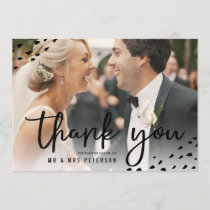 Modern boho thank you photo polka dots wedding