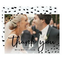 Modern boho thank you photo polka dots wedding card