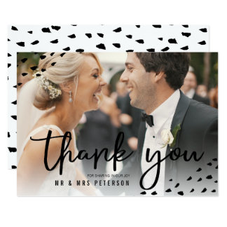 Modern boho thank you photo polka dots wedding card