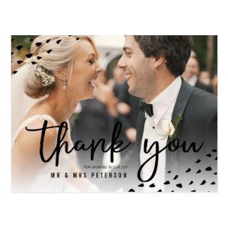Modern boho thank you photo polka dots wedding postcard