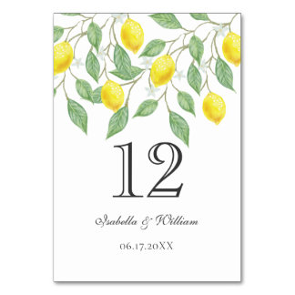 Modern Boho Watercolor Lemon Summer Wedding Table Table Number