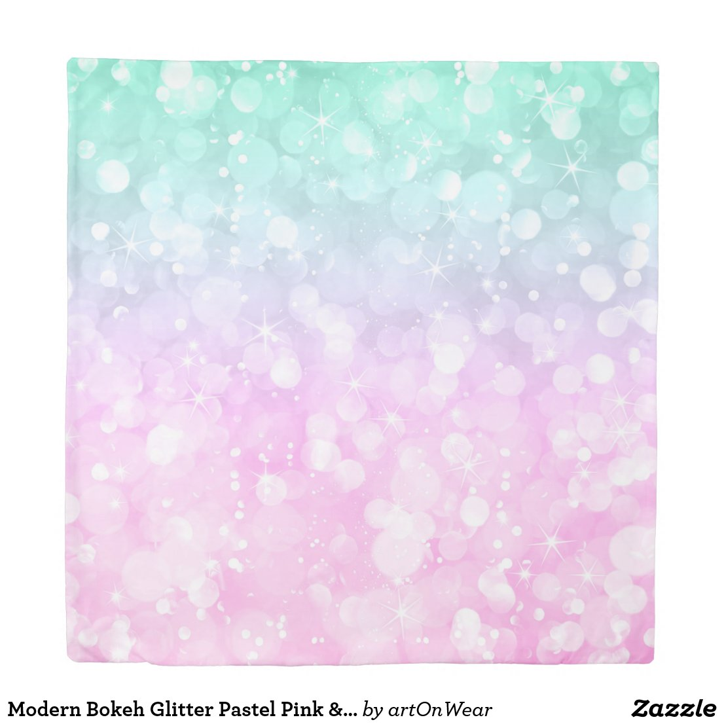Modern Bokeh Glitter Pastel Pink & Green