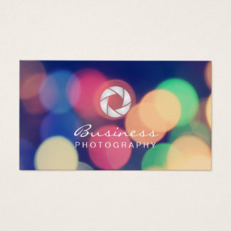 Modern Bokeh Lights Custom Logo Photography Business Card
