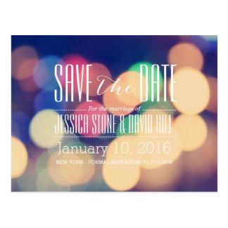 Modern Bokeh Lights Wedding Save the Date Postcard