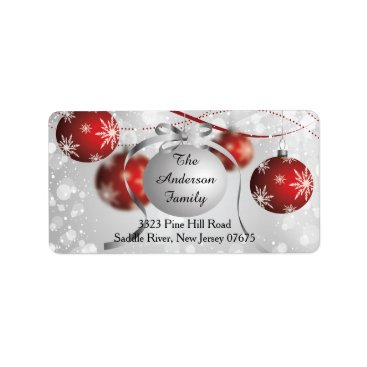 Christmas Themed Modern Bokeh Snowflake Christmas Return Address Label