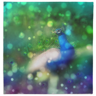 Modern Bokeh Sparkle Peacock Twinkling Home Decor Cloth Napkin