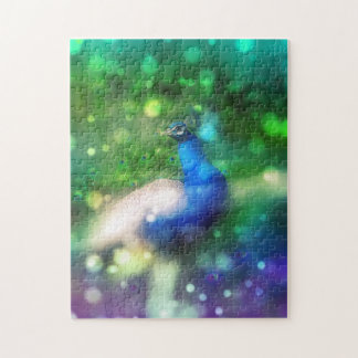 Modern Bokeh Sparkle Peacock Twinkling Home Decor Jigsaw Puzzle