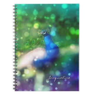 Modern Bokeh Sparkle Peacock Twinkling Home Decor Notebook