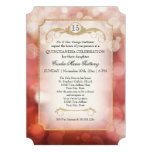 Modern Bokeh Sparkle Rose Twinkle Quinceanera Personalized Announcements