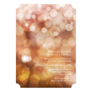Modern Bokeh Sparkle Twinkle Couples Shower Party Card