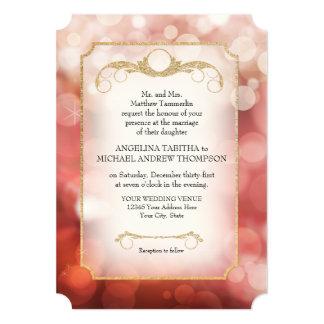 Modern Bokeh Sparkle Twinkle Marsala Wedding Card
