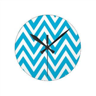 Modern bold aqua white chevron zigzag clock