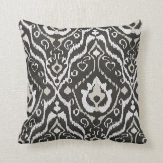 Black White Tan Throw Pillows : Ikat Pretty Throw Pillows