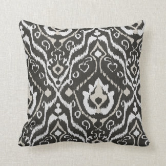 Modern bold beige black white ikat tribal pattern throw pillow