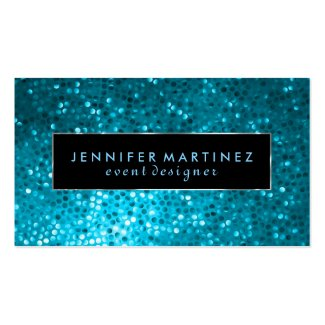 Modern Bold Black And Blue Glitter 2 Business Card Template