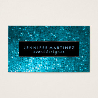 Modern Bold Black And Blue Glitter 2 Business Card