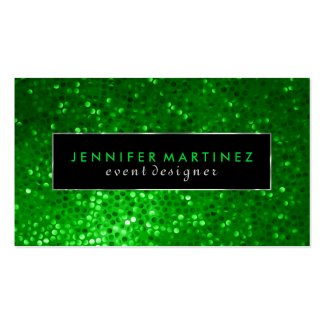 Modern Bold Black And Green Glitter 2 Business Cards