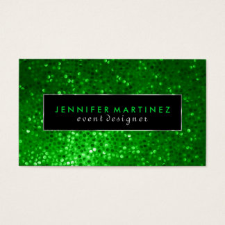 Modern Bold Black And Green Glitter 2 Business Card