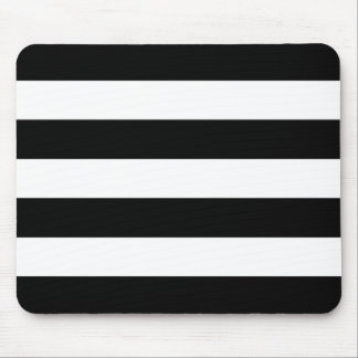Modern Bold Black and White Stripes Mouse Pad