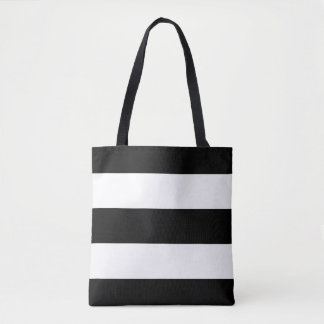 Modern Bold Black and White Stripes Tote Bag