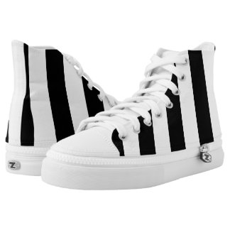 Modern Bold Black and White Vertical Stripes Printed Shoes