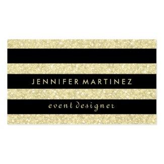 Modern Bold Black Stripes Gold Glitter Business Cards