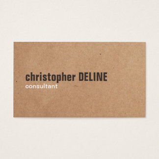 Modern Bold Brown White Kraft Paper Consultant Business Card