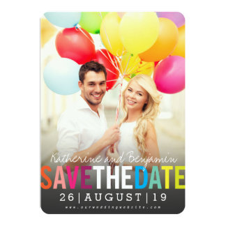 Modern Bold Colorful Rainbow Save The Date Photo Card