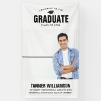 Modern Bold Congrats Grad Photo Graduation Party Banner