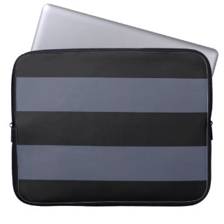 Modern Bold Dark Blue Stripes Laptop Sleeve