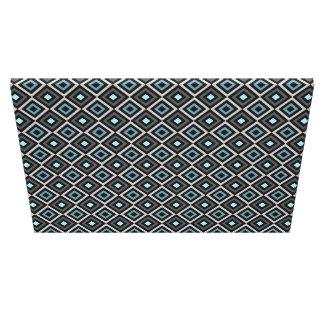 Modern Bold Diamond Pattern (Gray/Blue) Canvas Print
