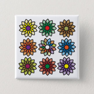 Modern Bold Flowers Graphic Design Square Button