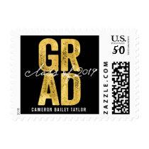 Modern Bold Grad 2019 Gold Foil Graduation Stamps