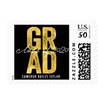 Modern Bold Grad 2020 Gold Foil Graduation Stamps