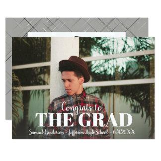 Modern Bold Grad Photo Graduation Party Custom Card