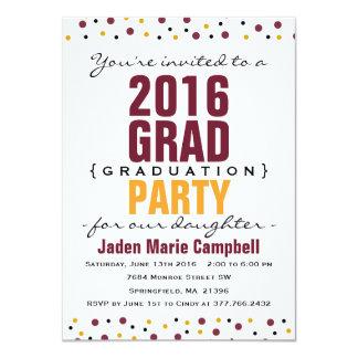 Modern Bold Graduation Party Invitation - Burgundy