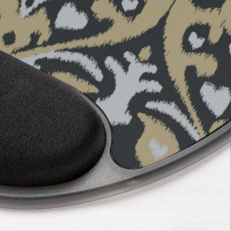Modern bold grey beige black ikat tribal pattern gel mouse pad