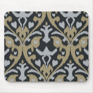Modern bold grey beige black ikat tribal pattern mouse pad