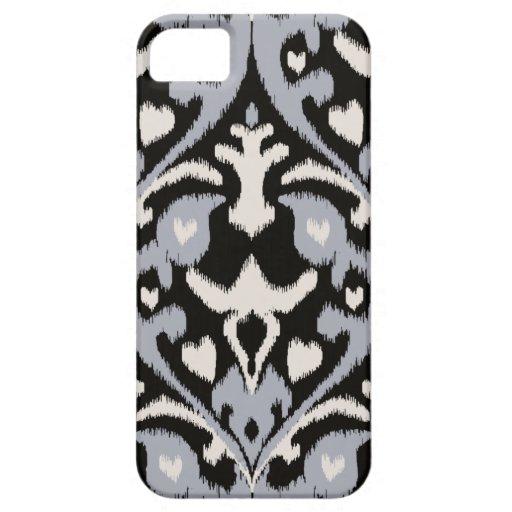 Modern bold grey black ikat tribal pattern iPhone 5 cases