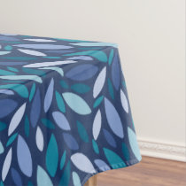 Modern bold leaf design in blue and seafoam colors tablecloth