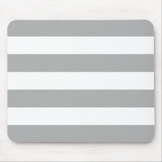 Modern Bold Light Gray and White Stripes Mouse Pad