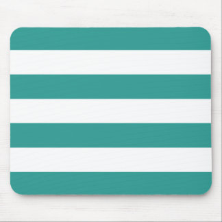 Modern Bold Light Teal and White Stripes Mouse Pad