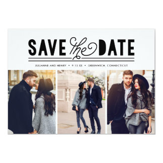 Modern Bold Love Save The Date Photo Collage Card