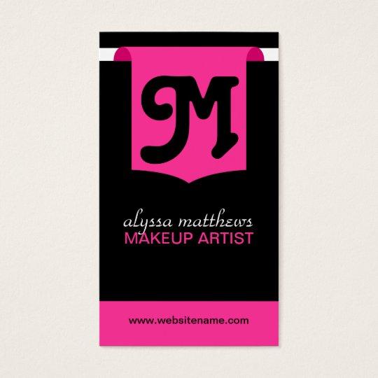 Modern Bold Makeup Artist Monogram Business Cards