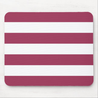 Modern Bold Maroon and White Stripes Mouse Pad