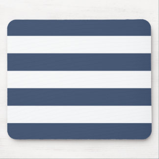 Modern Bold Navy and White Stripes Mouse Pad