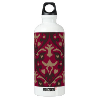 Modern bold red brown ikat tribal pattern aluminum water bottle